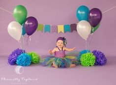 Lorelei's First Birthday shoot Peacock Birthday Party, 2nd Birthday Party For Girl, Baby Birthday Cakes, Birthday Girl Dress, Birthday Balloons, Birthday Party Themes, Birthday Ideas, Cake Smash Backdrop, 6 Month Baby Picture Ideas