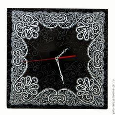 """Купить """"Вятские узоры"""" Часы настенные ,интерьерные - чёрно-белый, часы настенные, часы интерьерные"""