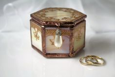 Gold wedding ring box Painted engagement ring box by LaurusArt