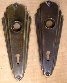 lot of vintage Art Deco glass brass door knobs plates misc. hardware ...