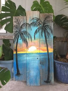 Beach Palm trees Sunset CUSTOM sign Large Palm trees, ocean, sunset, Rustic wood sign, beach w Types Of Photography, Fine Art Photography, Landscape Photography, Beach Mural, Beach Wall Art, Palm Tree Sunset, Palm Trees, Ocean Sunset, Fence Art
