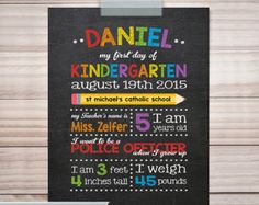 Check out First day of Kindergarten sign, First day of school, Back to School, Last day of school sign, School Chalkboard Poster, DIY PRINTABLE on sugarpickledesigns