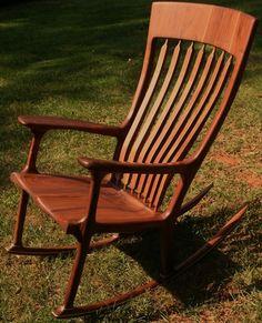 Wonderful New Unused Sam Maloof Inspired Hand Carved Cherry Walnut Ambrosia Rocking  Chair   EBay
