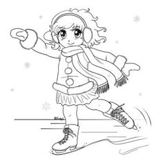 Kids in Winter Activities Coloring page Ice Skating on the Stream