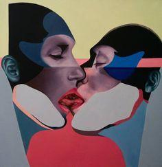 """Duel/Duet,"" original portrait painting by artist  Beata Chrzanowska available at Saatchi Art #SaatchiArt #ValentinesDay"
