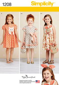 She'll look adorable in these sweet dresses with matching purses and headbands.  Make a ruffle dress with bow, a dress with puff sleeve and kitty applique, and a sleeveless dress with bunny applique. Simplicity pattern 1208 is available in children sizes.