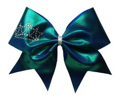 Cheerleading hair bow, full mystique with crystal tiara and silver center wrap, by Lucky Girl Cheer Bows