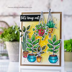 Using the brand new Let's Hang Out stamp set from Hero Arts and Copic Markers to create a fun scene. Stamps colored with Copic Markers. Hero Arts Cards, Friendship Cards, Ink Stamps, Cards For Friends, Diy Christmas Gifts, Cool Cards, Cardmaking, Paper Crafts, Copic Markers