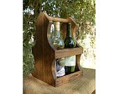 New Style - Wine Bottle Carrier / Centerpiece - Handcrafted - Holds Four Wine Bottles