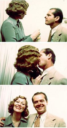 Jack Nicholson and Faye Dunaway practicing the kiss scene in Chinatown. Katharine Hepburn, Audrey Hepburn, Faye Dunaway Chinatown, Bonnie And Clyde 1967, The Towering Inferno, Diahann Carroll, Isabella Rossellini, Roman Polanski, Marlene Dietrich