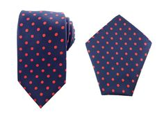 Mens Necktie Navy Blue Red Polka Dots 8.5 CM Necktie with Pocket Square.