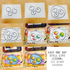 One Day Elementary Art Lesson | First Grade Still Life Painting, Cezanne