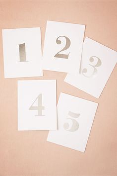 Foil Table Numbers (5) in silver from BHLDN