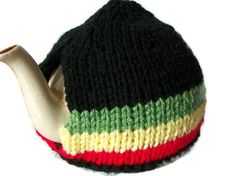Rasta Tea Cosy Hand Knit by thekittensmittensuk on Etsy Knitted Tea Cosies, Knitted Hats, Crochet Hats, Green And Gold, Red Green, Kitten Mittens, Handmade Christmas Gifts, Bare Foot Sandals, Cosy