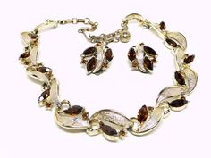 Lisner Necklace Earrings Set - Mad Men Demi Parure - Mid Century Modern Brown Rhinestones offered by TheJewelSeeker.  This is a gorgeous necklace