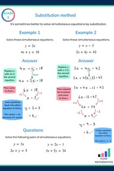 Solving simultaneous equations by substitution summary. Add this pin to your board to help revise Algebra Help, Algebra Worksheets, Math Help, Solving Algebraic Equations, Algebra Equations, Gcse Maths Revision, College Math, Math Notes, Physics And Mathematics