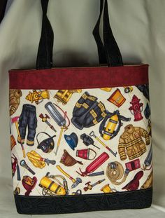 Fireman Ready Tote Bag by carriedawaywithjill on Etsy