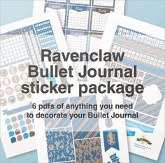 Ravenclaw bullet journal stickers package - A4 - printable, print at home, digital prints  - Gryffindor - hogwarts - Harry Potter