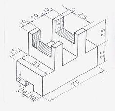 Autocad Isometric Drawing, Isometric Drawing Exercises, Isometric Shapes, Isometric Design, Mechanical Engineering Design, Mechanical Design, Orthographic Drawing, Interesting Drawings, Geometric Drawing