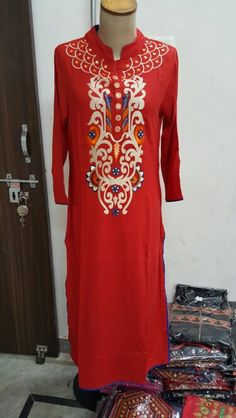 Rayon long kurti with embroidery