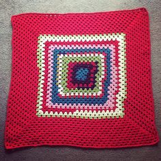 """Second blanket of 2015 finished. This one was made from left overs and at the same time as the lacy cross blanket I just finished."""