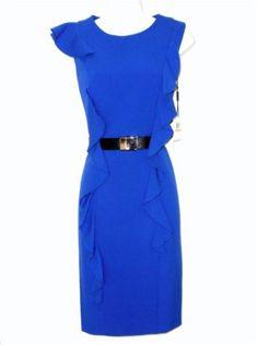 Calvin Klein CK Dress Size Sz 8 Royal Blue Ruffle Belt Career Cocktail NWT