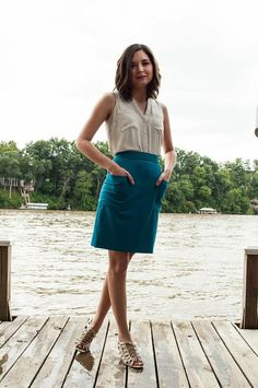 Amatoria Turquoise Blue High-Waist Skirt with Wrap-Around Pockets. Italian Cashmere Wool on Etsy, $248.00