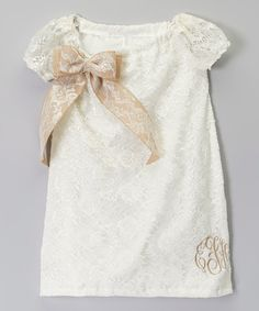 Loving this Ivory Lace Monogram Cap-Sleeve Dress - Infant & Toddler on #zulily! #zulilyfinds