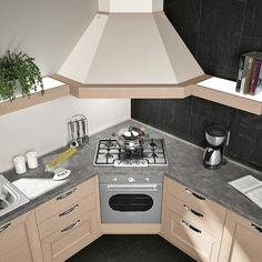 Kitchen Room Design, Kitchen Cabinet Design, Home Decor Kitchen, Kitchen Interior, Contemporary Kitchen Renovation, Modern Kitchen Cabinets, Corner Stove, Diy Kitchen Storage, Luxury Kitchens