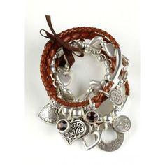 Bibi Bijoux Brown Multi Leather & Beadball Charm Crystal Bracelet