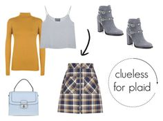 A fashion look from August 2016 featuring brown top, silk cami and mini skirts. Browse and shop related looks. Clueless, Miu Miu, Valentino, Plaid, Shoe Bag, Polyvore, Stuff To Buy, Shopping, Shoes