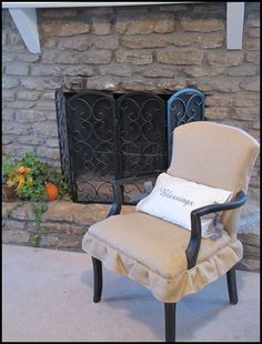 My Burlap Beauty | Beneath My Heart See how to recover a {$6.50 Goodwill} chair with burlap.