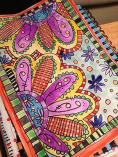 Doodle coloring, tangle doodle, zen doodle, art journal inspiration, do Art Journal Pages, Journal D'art, Doodle Art Journals, Art Journaling, Tangle Doodle, Doodles Zentangles, Zen Doodle, Zentangle Patterns, Doodling Art