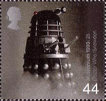 British Stamp 1999 - 44p, Dalek from Dr Who (science-fiction series) ('Television') from Millennium Series. The Entertainers' Tale (1999)
