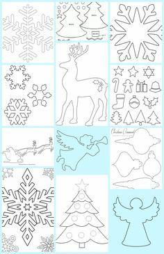 Homemade Christmas Decorations, Diy Christmas Ornaments, Christmas Templates, Christmas Printables, Christmas Paper, Christmas Time, Cardboard Crafts, Paper Crafts, Stencils