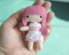 4 inch Miniature Doll, Felt Kawaii Doll With Pink Hair