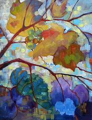 Abstract Grapes Paintings - Red Grape Vines III by Peggy Wilson