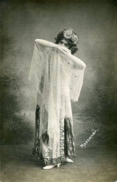 Vintage French hand tinted photo postcard - Actress miss Mozaraba in belly dance costume - Victorian Paper Ephemera