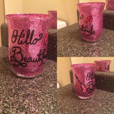 Make Up Storage, Makeup Brush Holders, Hand Painting Art, Makeup Brushes, Devil, Hand Painted, Yellow, Unique Jewelry, Handmade Gifts