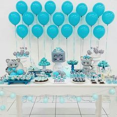 The color coordination is fantastic! Baby Shower Deco, Baby Shower Balloons, Shower Party, Baby Shower Parties, Baby Shower Themes, Baby Boy Shower, Baby Showers, Balloon Decorations, Birthday Decorations