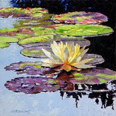 Garden Pond Painting - Floating Gold by John Lautermilch Pond Painting, Lily Painting, Guache, Buy Art Online, Online Check, Parcs, Art Plastique, Art Auction, Medium Art