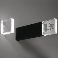 peter zumthor  2003  IP40 light fitting for interior use (IP20 in the audio–visual alarm version), consisting of a black or white oxidized aluminium extrusion with 100 x 30mm base and 100 x 100 x 30mm clear methacrylate diffuser or with a 250 x 30mm base and 250 x 250x30mm diffuser. it provides ambient, signage and guide lighting and is wired for 2 x 1W and 4 x 1W led lamps respectively.