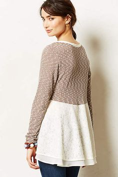 Kittery Pullover - anthropologie.com lace over chiffon added to sweater