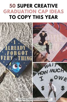 Struggling to figure out how to decorate a graduation cap? Get some inspiration from one of these clever DIY graduation cap ideas in These high school and college graduation cap decorations won't disappoint! Graduation Dress College, College Graduation Announcements, College Graduation Pictures, Graduation Party Foods, Graduation Photoshoot, Graduation Diy, Graduation Celebration, Best Study Tips, College Survival Guide