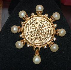 Vintage KJL Kenneth Jay Lane Avon Medallion Cross Brooch or Pendant | eBay