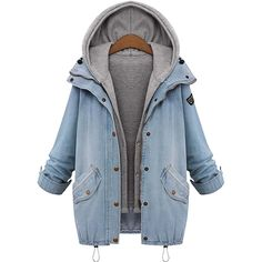 2018 Autumn Hooded Coat And Jeans Jacket Two Piece Coat Long Sleeve Single Breasted Denim Jacket Loose Casual Coat Hooded Jean Jackets, Hooded Vest, Denim Jackets, Hooded Coats, Casual Jackets, Denim Hooded Jacket, Cotton Jacket, Puffer Vest, Women's Jackets