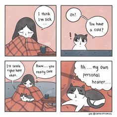 Check Out These Adorable Comics About a Girl And Her Pets Comic 8, Comic Books, Cat Comics, Cat Sleeping, Cat Costumes, 2d Art, Funny Pictures, Funny Pics, Sick