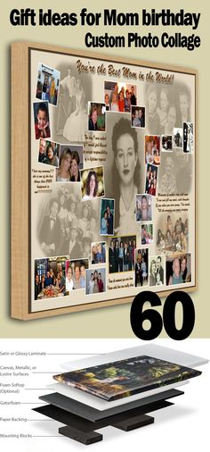 Memorable photo collage, gift ideas for Mother who have everything. Upload your family photos from your computer to turn them into sweet memories placed on one piece customized just for you Birthday Photo Collage, Make A Photo Collage, Birthday Gift Photo, Pop Art Collage, Collage Ideas, Mother In Law Birthday, Moms 50th Birthday, Birthday Bash, Birthday Ideas