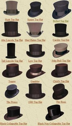 High top hat in midnight black with a velvet (either coal or deep crimson) sash would = perfection