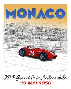 """Faux"" 1956 Grand Prix de Monaco poster - Sir Stirling winning in a Maserati 250F. 16""x 20"" limited edition of 50. © Paul Chenard"